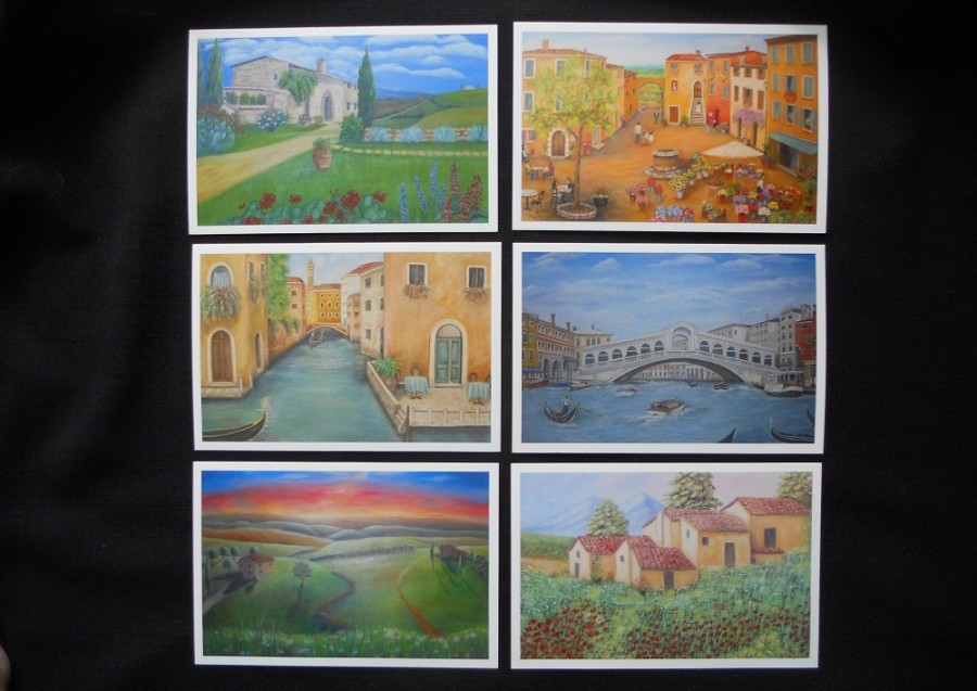 Set of 12 Fine Art Postcards of Italian Scenes from Original Oil Paintings