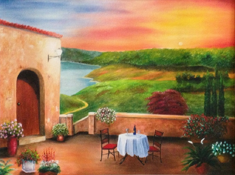 Sold Out Table For Two In Tuscany Large 22 X 28 Fine