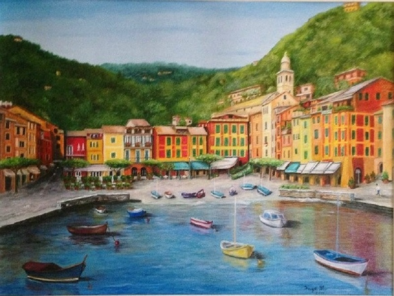 Portofino on the Italian Riviera, 16 x 20″ Fine Art Reproduction Print (Giclee) of Original Painting