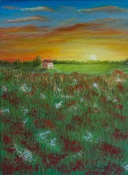 Tuscan Poppy Field at Sunset oil painting