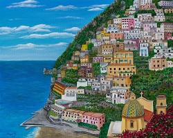 Positano on the Amalfi Coast oil painting