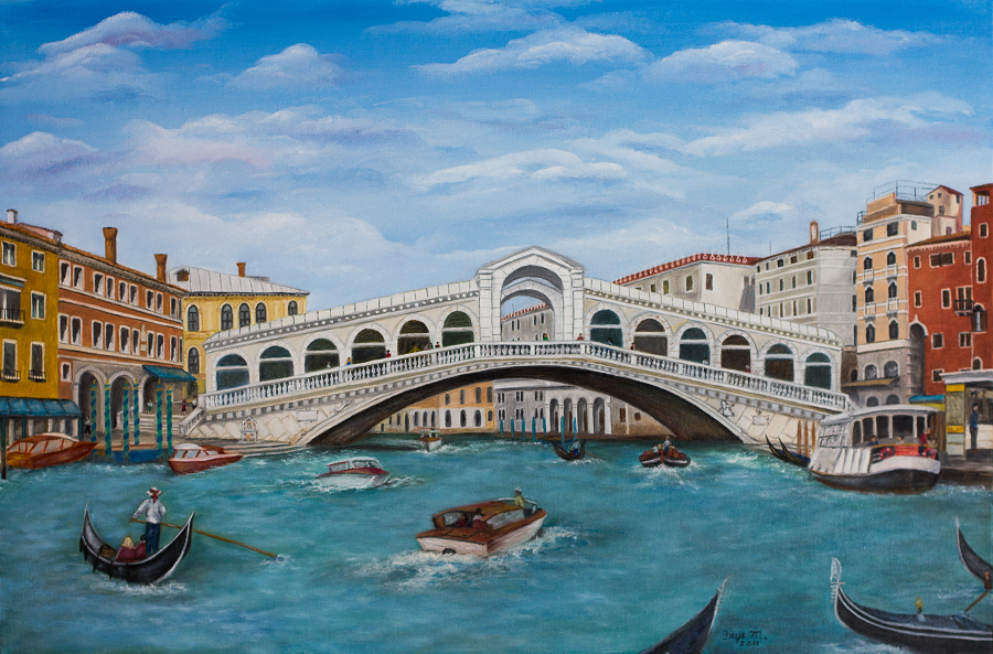 Rialto Bridge on Grand Canal in Venice