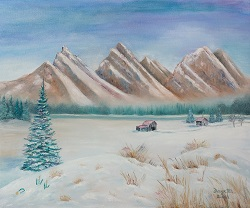 Snowfall in the Valley oil painting