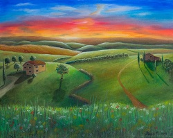Tuscan Sunset oil painting