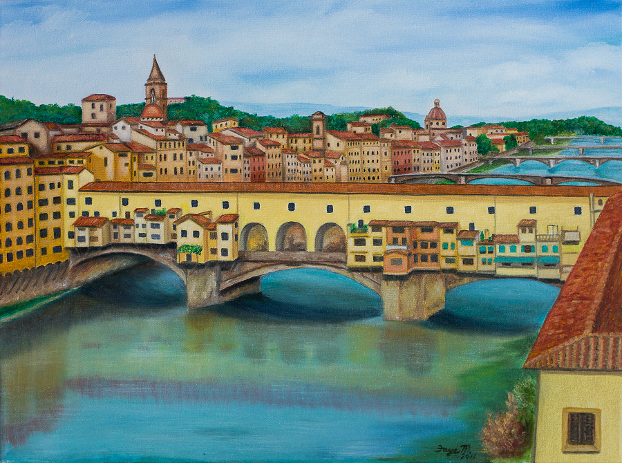 Ponte Vecchio in Florence, 12 x 16″ Fine Art Reproduction Museum-Quality Print (Giclee) of Original Painting