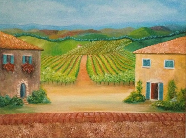 View of the Vineyard, Large 22 x 28″ Fine Art Reproduction Print (Giclee) of Original Painting