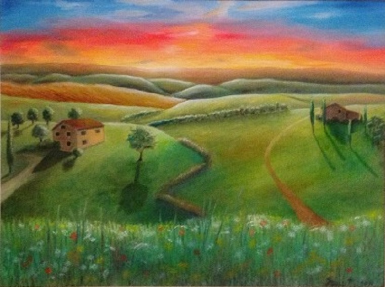 Tuscan Sunset, Large 22 x 28″ Fine Art Reproduction Print (Giclee) of Original Painting
