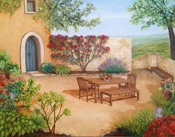 Italian Courtyard Retreat oil painting on canvas